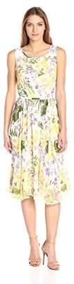 Gabby Skye Women's Sleeveless Chiffon Floral Dress
