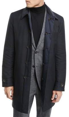 Canali Hidden-Button Trench Coat