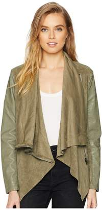 Blank NYC Faux Suede Drape Front Jacket in Olive Women's Coat