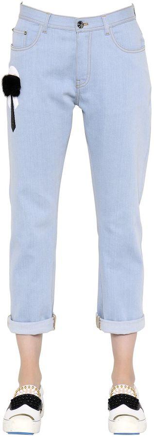 FendiBoyfriend Embellished Cotton Denim Jeans
