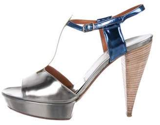 Lanvin Patent Leather Platform Sandals Silver Patent Leather Platform Sandals