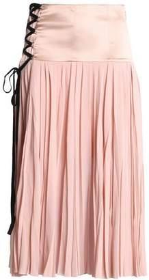 Cinq à Sept Satin-Paneled Pleated Silk-Georgette Midi Skirt