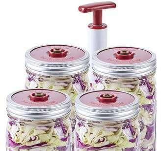 SOLIGT 4-Pack of Fermentation Lids with Extractor Pump for Wide Mouth Mason Jar