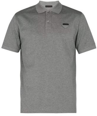 Prada Logo Applique Cotton Pique Polo Shirt - Mens - Dark Grey