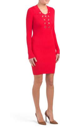 Juniors Grommet Lace Up Bodycon Dress