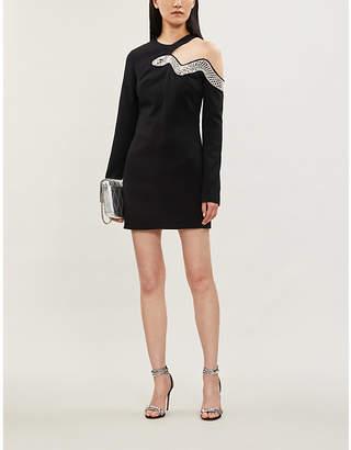 David Koma Bead-embellished cut-out stretch-crepe mini dress