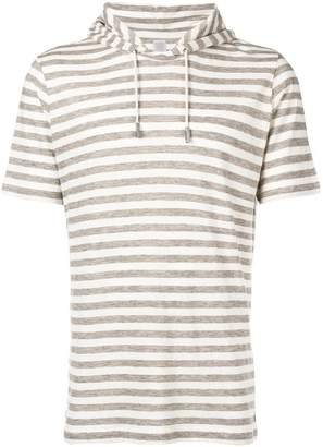 Eleventy striped hooded T-shirt