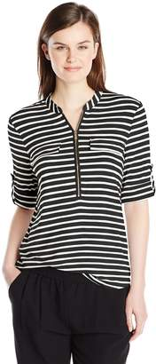 cf5af0a549302 at Amazon Canada · Calvin Klein Women s Modern Essential Striped Zip Front  Roll Sleeve Blouse