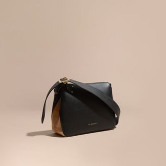 Burberry Buckle Detail Leather and House Check Crossbody Bag $995 thestylecure.com