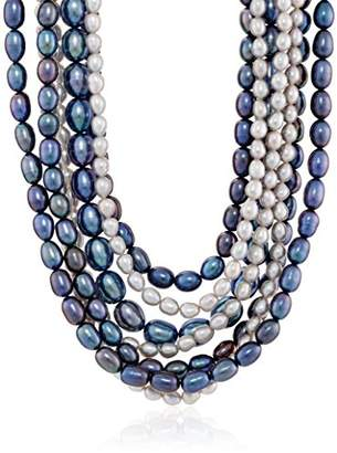 7 Row Sterling Silver Dyed Multi-Color Freshwater Cultured Pearl Nested Necklace