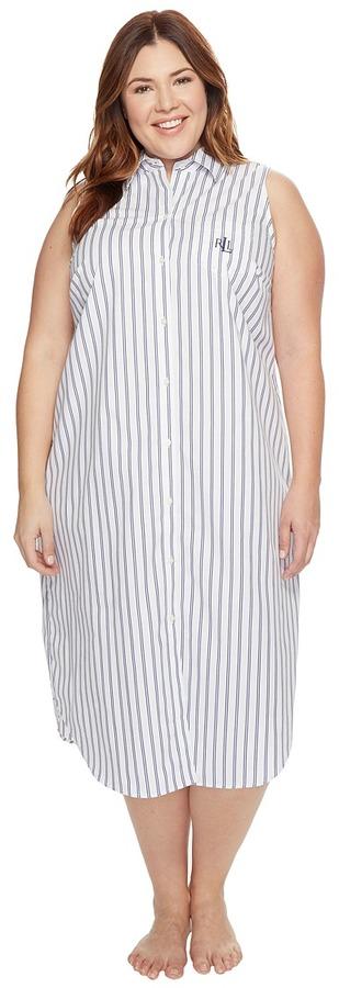 Lauren Ralph LaurenLAUREN Ralph Lauren - Plus Size Sleeveless Cotton Poplin Ballet Gown Women's Pajama