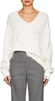 Helmut Lang Women's Distressed Cotton-Wool V-Neck Sweater