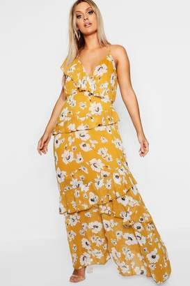 boohoo Plus Kate Floral Ruffle Detail Maxi Dress