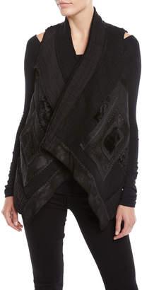 Urban Zen Draped-Front Patchwork Vest w/ Cropped Back