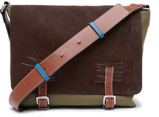 Loewe Leather-trimmed Suede And Canvas Messenger Bag