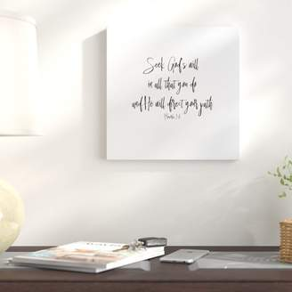 East Urban Home 'Proverbs' Graphic Art Print on Wrapped Canvas