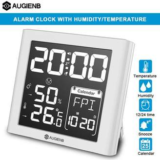 mtqsun AUGIENB Digital Alarm Clock Weather Station humidityclock with Indoor Humidity/Temperature/Calender/Snooze,Battery Operated, White Backlight