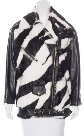 MoschinoMoschino leather and rabbit motorcycle jacket