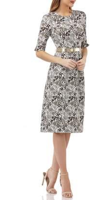 Kay Unger Elbow-Sleeve Belted Sheath Dress