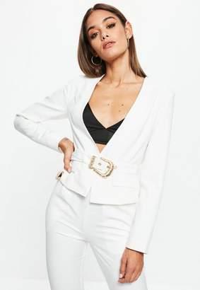 Missguided White Cropped Western Belt Blazer, White