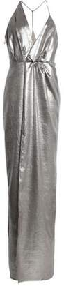 Halston Wrap-Effect Metallic Crepe Maxi Dress