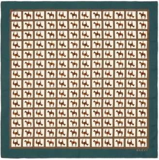 Gucci Horses Square Silk Scarf
