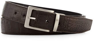 W.KLEINBERG W. Kleinberg Reversible Crocodile & Leather Belt Two-Buckle Box Set