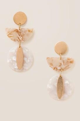francesca's Nela Geo Marbled Resin Earrings - Ivory