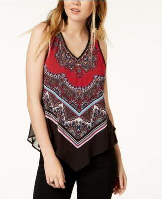 BCX Juniors' Printed Asymmetrical Top