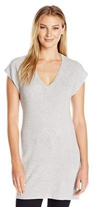 Lark & Ro Women's 100% Cashmere Cap Sleeve Soft V-Neck Tunic Sweater