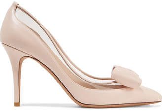 Valentino Garavani Glassglow Pvc-trimmed Leather Pumps - Pastel pink