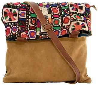 Vintage Addiction Vintage Fabric & Suede Crossbody Bag