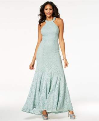 B. Darlin Juniors' Glitter Lace Strap-Detailed Gown, Created for Macy's