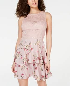Teeze Me Juniors' Lace Floral-Print Fit & Flare Dress