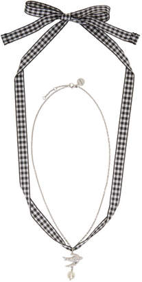 Miu Miu Silver Swallow Pearl Charm Necklace