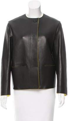 Celine Leather Collarless Jacket w/ Tags