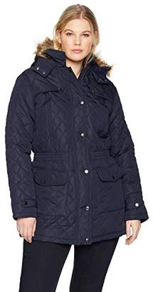 The Plus Project Women's Plus Size Quilted Long Coat with Pockets 4X-Large