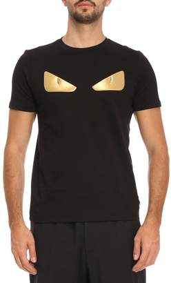 Fendi T-shirt Monster Eyes Chocker T-shirt In Cotton Jersey With Maxi-patches Eyes Bag Bugs