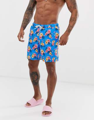 c09057d305 Asos Design DESIGN swim shorts in hawaiian floral print mid length