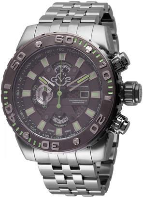 Gv2 48mm Polpo Chronograph Stainless Steel Bracelet Watch, Black