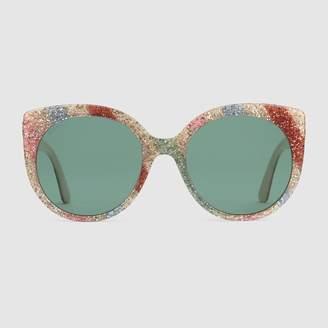 Gucci Cat eye glitter acetate sunglasses