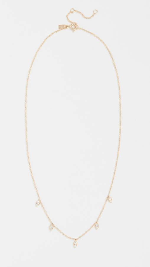 14k Gold Diamond Multi Teardrop Necklace