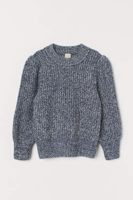 H&M Puff-sleeved Sweater - Blue