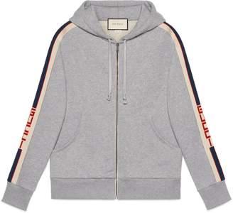 Gucci Hooded zip-up sweatshirt with stripe