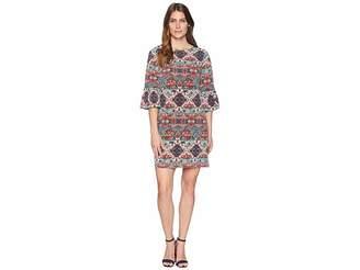 London Times Printed Matte Jersey Long Sleeve Dress Women's Dress