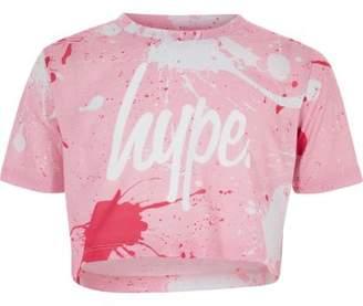 Hype Girls pink paint splat crop T-shirt