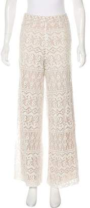 Alice + Olivia Laced High-Rise Wide-Leg Pants