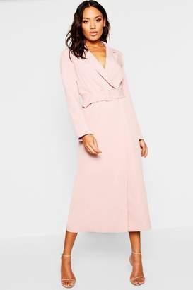 boohoo Woven Double Breasted Maxi Blazer Dress