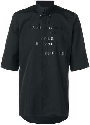 DSQUARED2 slogan print button down shirt