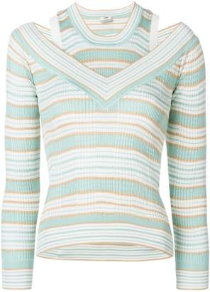 Fendi striped layered look knitted top